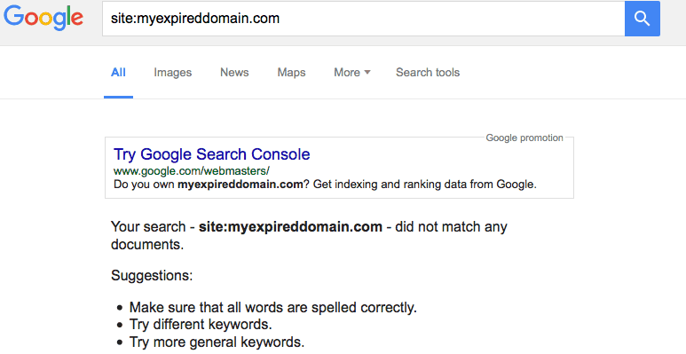 Expired domain website not indexed in google