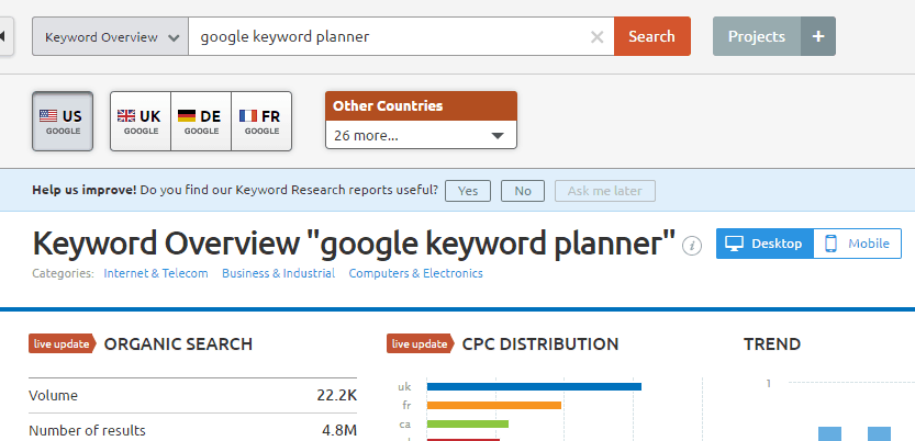 Google Keyword Planner Alternative: SEMRush keyword research tool