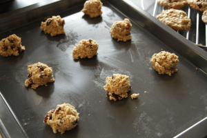 Oatmeal Cookies - dough on cookie sheet