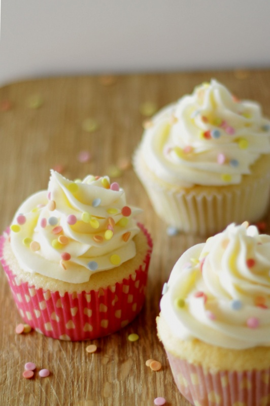 Cream Cheese Frosting Made from European Cream Cheese on cupcakes, viewed from an angle