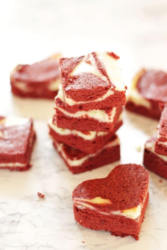 Red Velvet Cheesecake Brownies ~ Living on Cookies