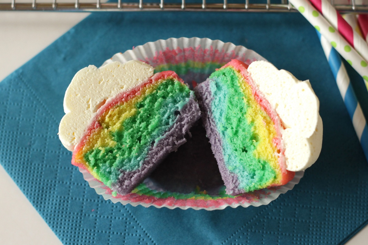 Rainbow Cupcakes with Fluffy Vanilla Frosting ~ Living on Cookies