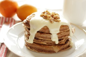 pancake stack with cream cheese glaze