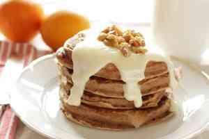 pancake stack with cream cheese glaze