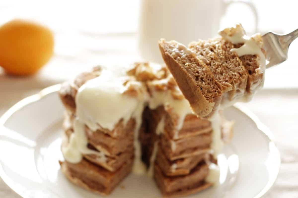 Cinnamon Pancakes with Cream Cheese Glaze ~ Living on Cookies
