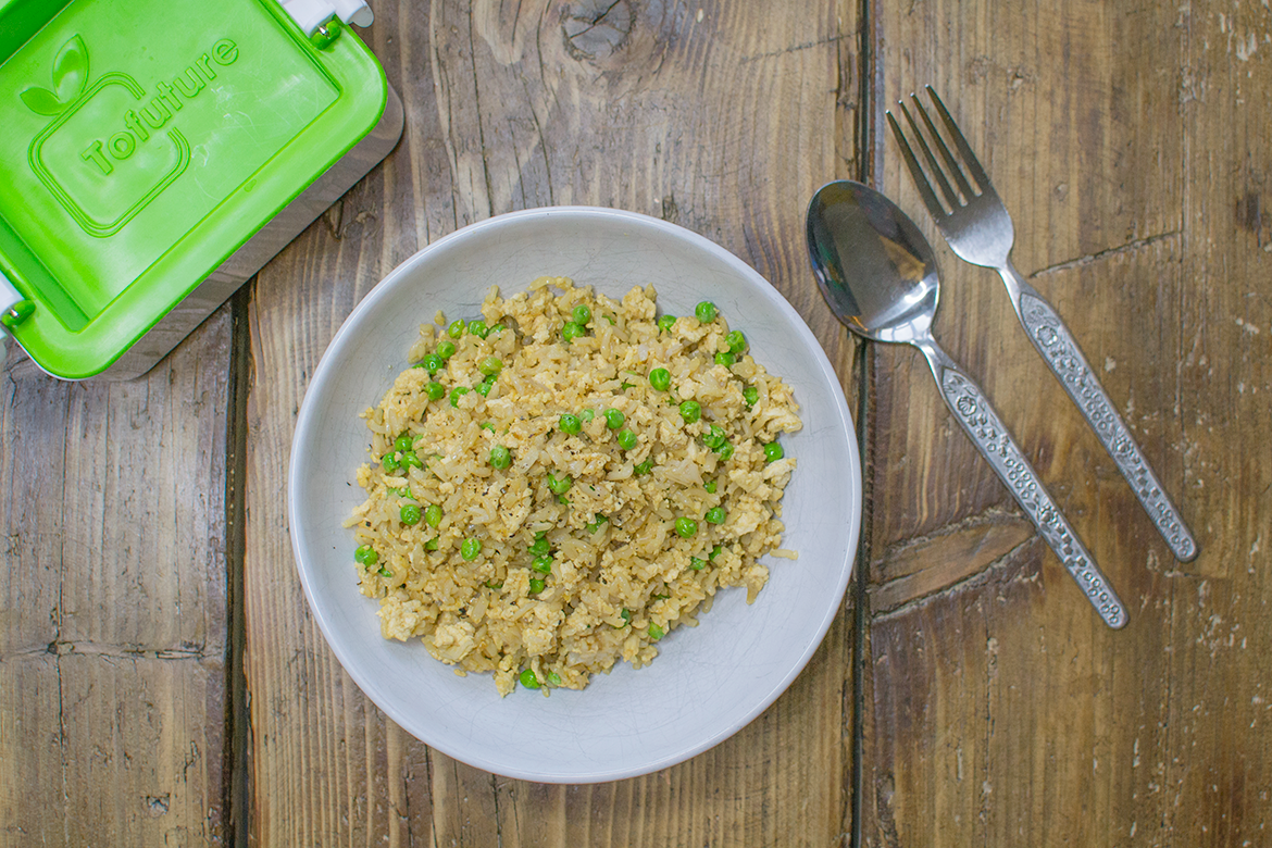 vegan tofu fried rice recipe using tofuture tofu press