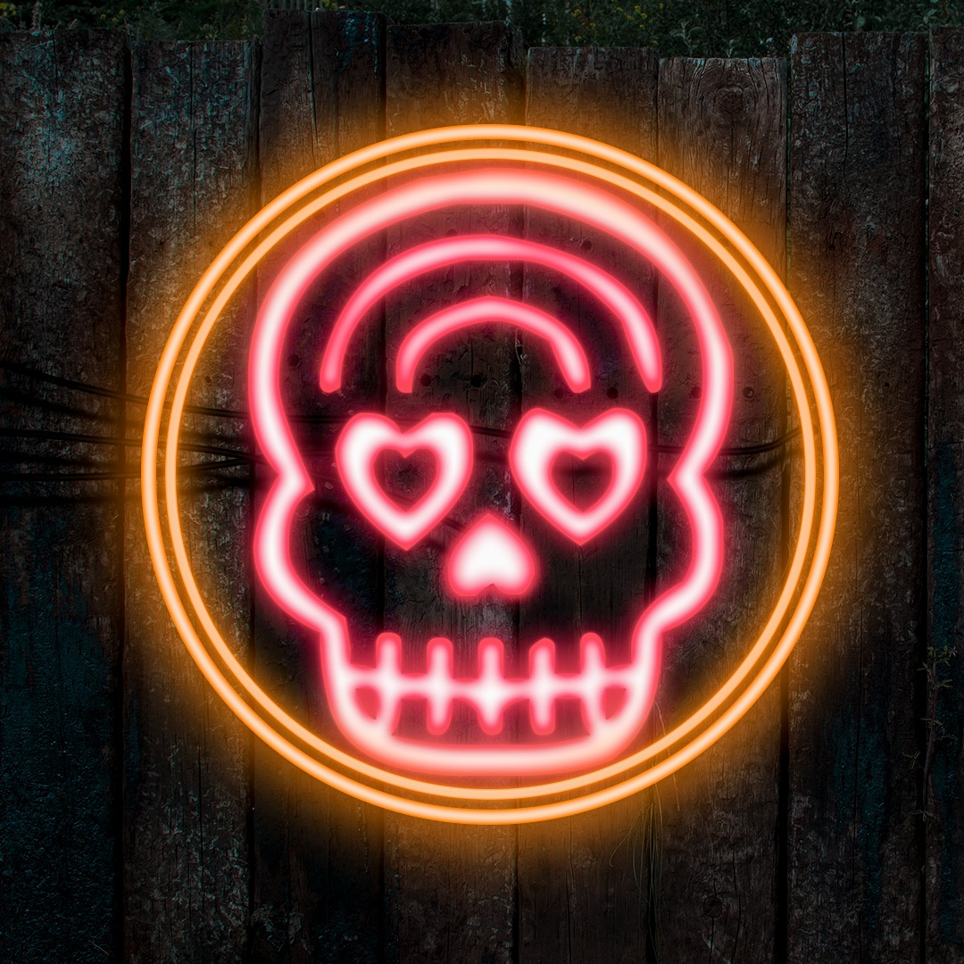 spooky photography skull neon lights