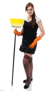 Rubber gloves and cleaning accessories add to this easy maid's costume. Photo by iStock.