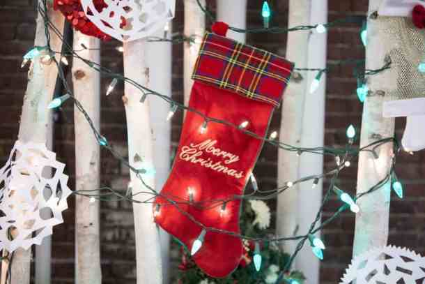 Christmas stocking and lights