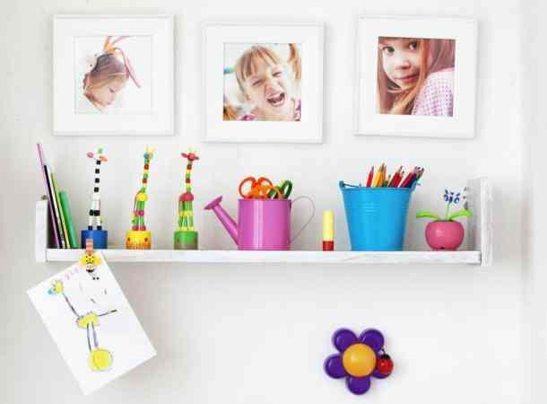 Kids shelf with photos