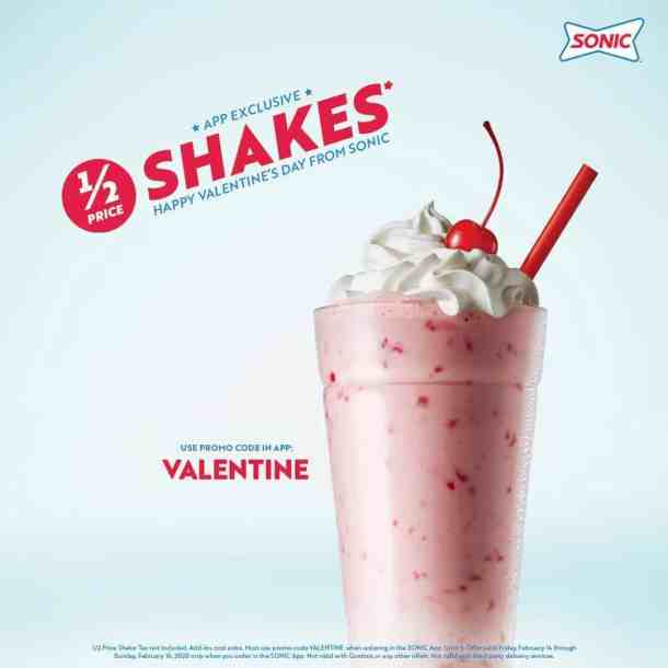 Sonic half-price shakes for valentines day strawberry shake with cherry