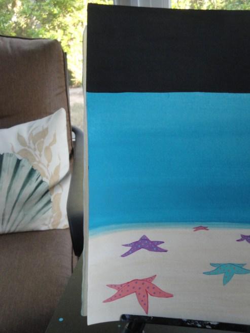 Zale's Tales children's book artwork - layers of water, sand, night sky, sea stars