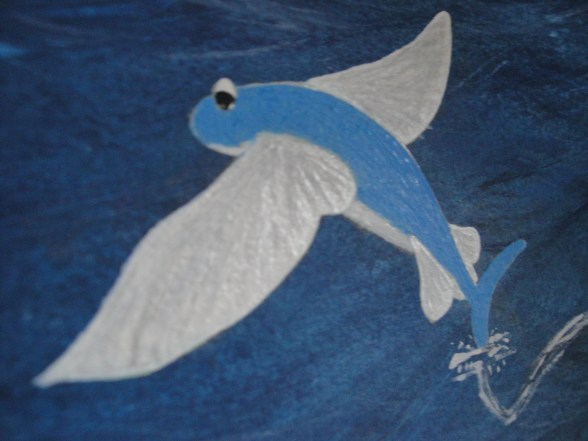 Zale's Tales children's book artwork - Zale as a flying fish