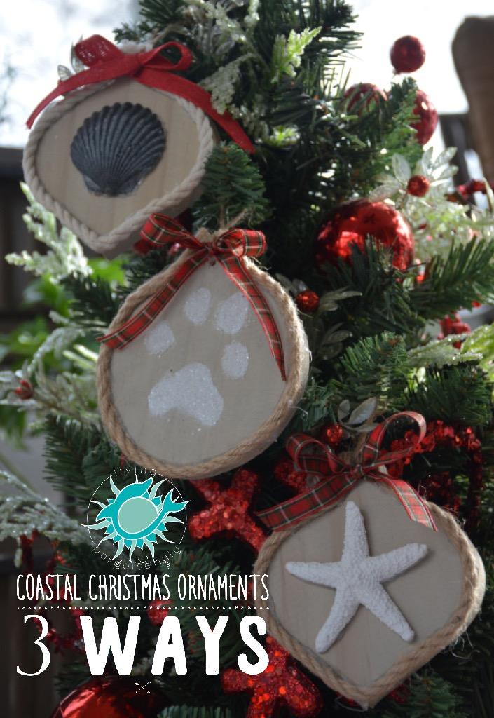 coastal ornament 3 ways - starfish, scallop shell, paw print with nautical rope (2)