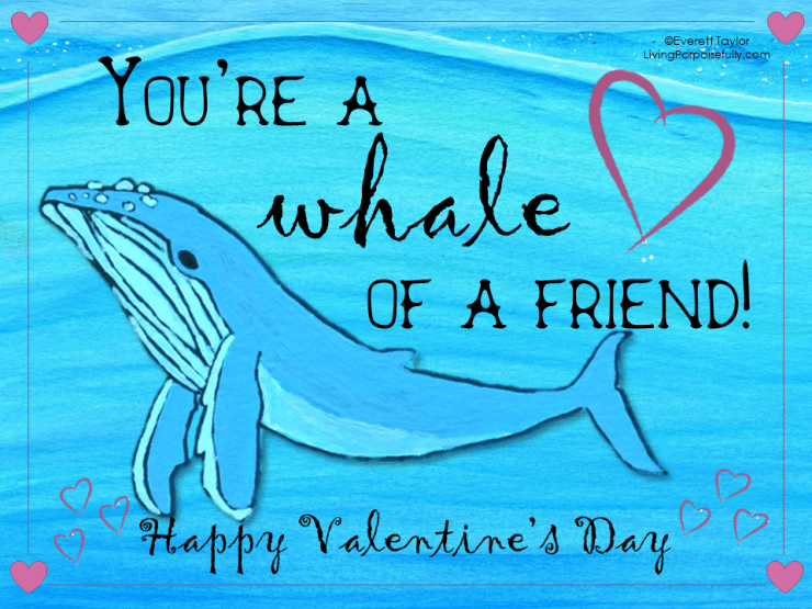 ocean valentine - a whale of a friend (color)