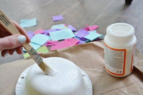 Step 1a Jellyfish Craft Kit - brush glue on paper bowl