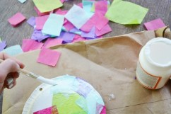 Step 1c Jellyfish Craft Kit - paint more glue and add tissue paper pieces