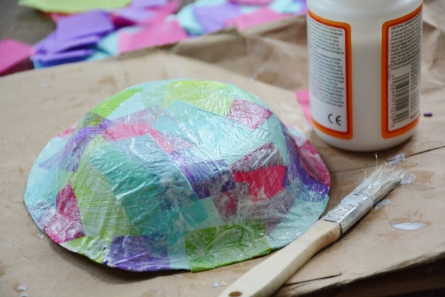 Step 1d Jellyfish Craft Kit - add more pieces on top and paint with glue