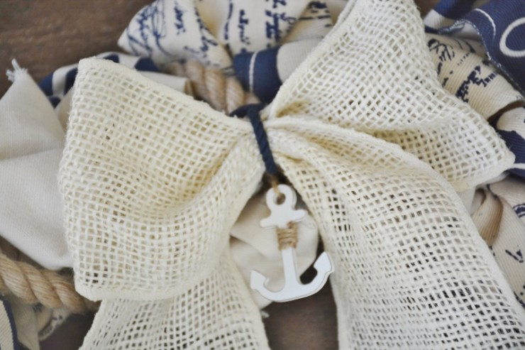 cream burlap ribbon with anchor charm