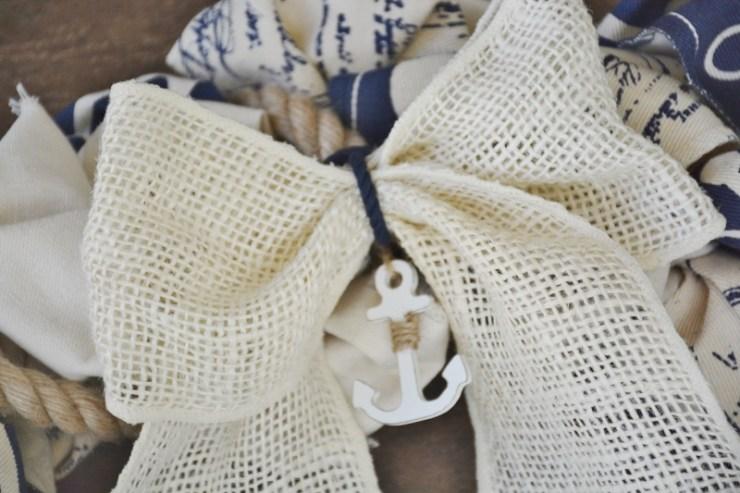 cream burlap ribbon with anchor charm