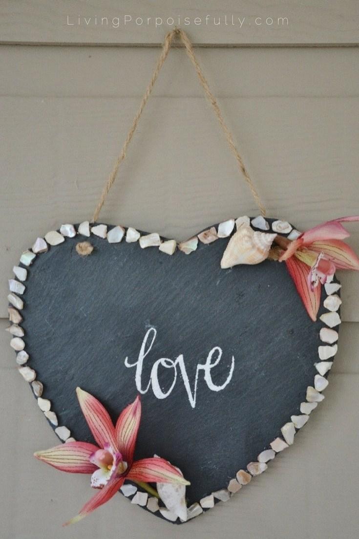 Diy Seashell Love Wall Hanging Living Porpoisefully