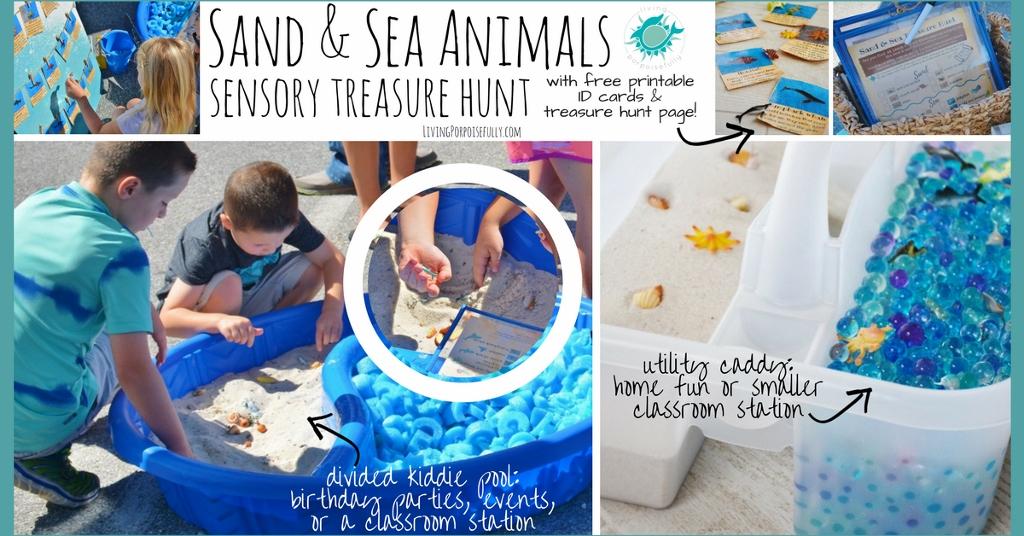 Sand and Sea Animals Sensory Treasure Hunt kiddie pool and utility caddy (1024x536)