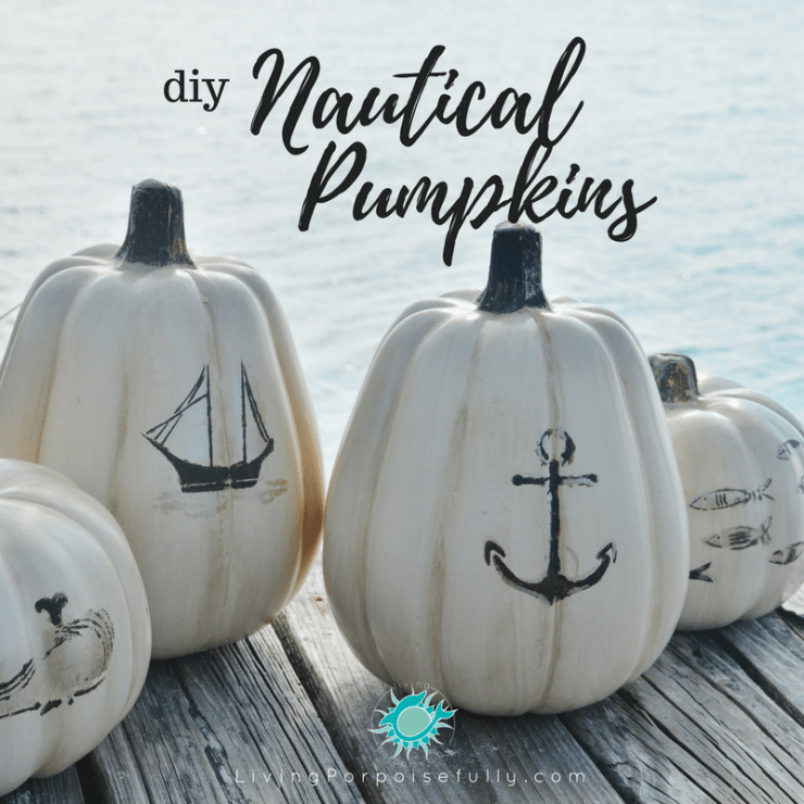 diy Nautical Pumpkins - LivingPorpoisefully.com - social media