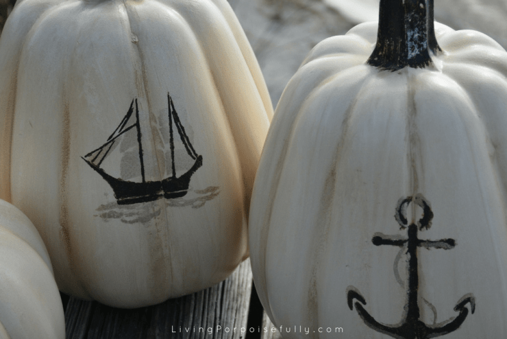 diy Nautical Pumpkins - anchor ship stencil