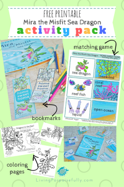 Mira the Misfit Sea Dragon Printable Activity Pack - coloring pages, bookmarks, matching game (2)
