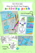 Mira the Misfit Sea Dragon Printable Activity Pack - coloring pages, bookmarks, matching game (3)
