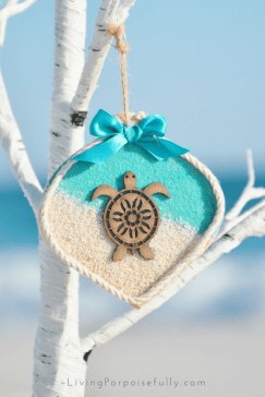 turquoise aqua sea turtle wood ornament