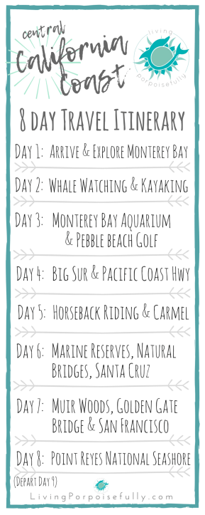 Central California Coast 8 Day Travel Vacation Itinerary