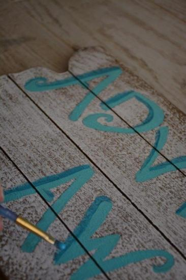 DIY Mermaid Sign - step 2 b paint letters