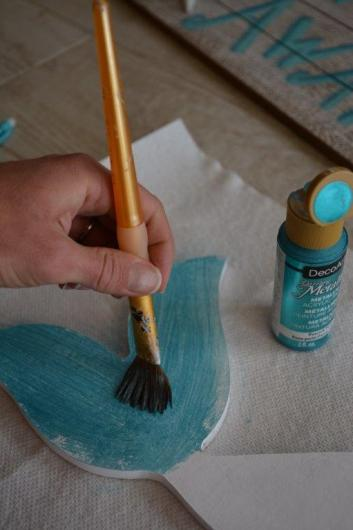 DIY Mermaid Sign - tail 2 paint fin turquoise