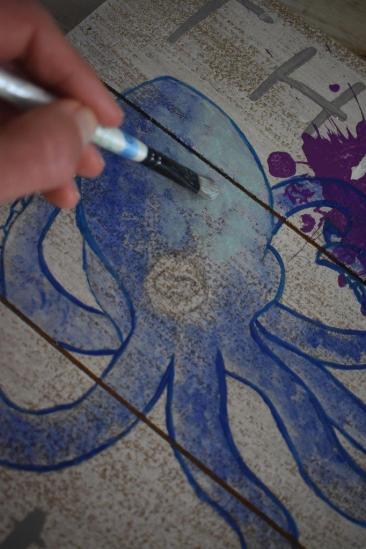 12 octopus ink sign - paint octopus 2 aqua