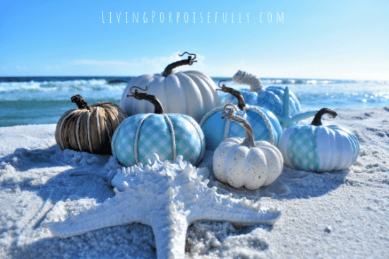 DIY Coastal Aqua Pumpkins - uses paper napkins! Living Porpoisefully