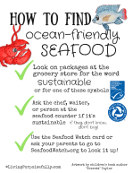 How to find ocean-friendly seafood printable resource page by Living Porpoisefully