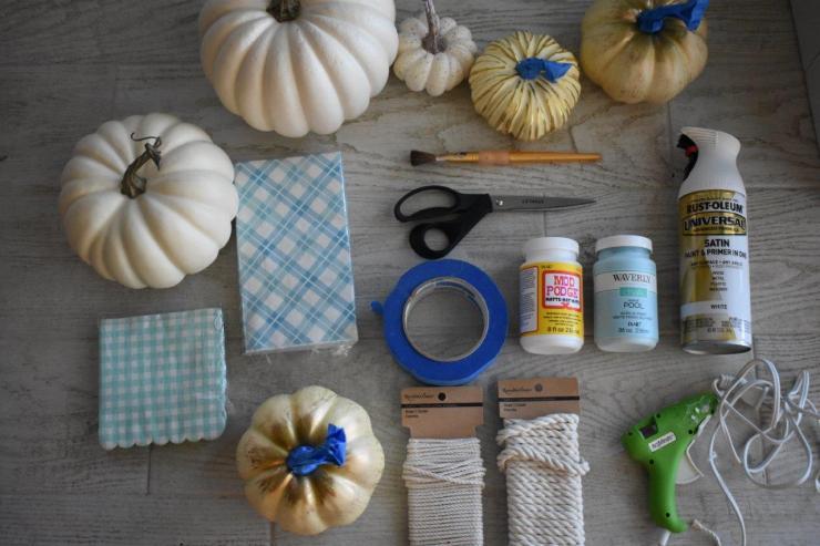 supplies - coastal aqua pumpkins
