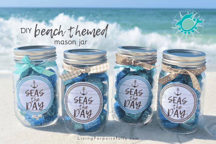 Diy Beach Themed Mason Jar Living Porpoisefully