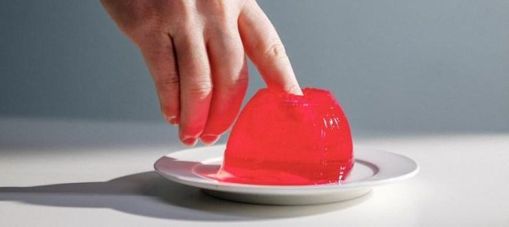 a person s finger inside a gelatin