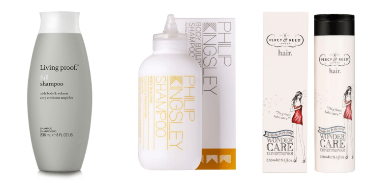 Recommended: Best shampoos & conditioners for fine hair. Images of Living Proof Full Shampoo. Philip Kingsley Body Building Shampoo and Percy & Reed Wonder Care Conditioner