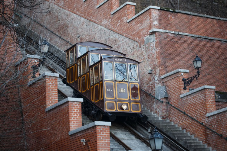 5 Things to do in Buda, Budapest: Image of Castle Hill Funicular at Budapest Hungary, transporting tourist to Castle Hill, Budapest, Hungary