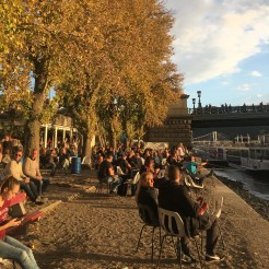 48 hours in Budapest: Image of a open air bar along the River bank of the Pest side of Budapest