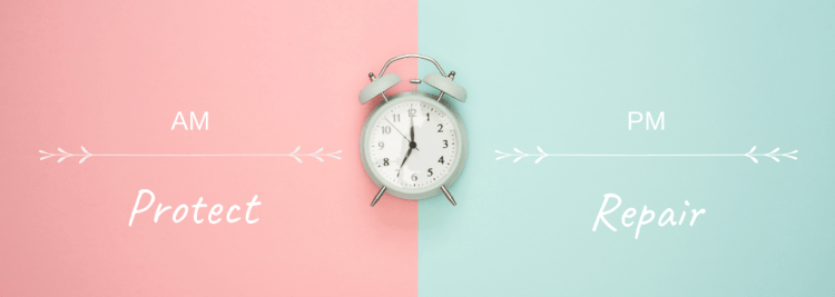 How to get the most out of your skincare products.  Image of an alarm clock on a pink and teal background with the words AM Protect on one side and PM repair on the other
