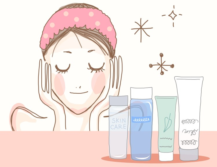 How to get the most out of your skincare products. Illustration of a girl wearing an alice band, with her hands to her face, her eyes closed and looking contented. Illustrations of different skincare products are in front of her