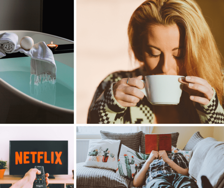 How to keep your running motivation. How to stay motivated to run. Graphic showing 4 separate images, 1 of a relaxing bath, 1 of a young woman drinking coffee, 1 of an outstretched hand holding a TV remote pointing towards a TV displaying the Netflix logo and 1 of a man lying on a sofa reading a book