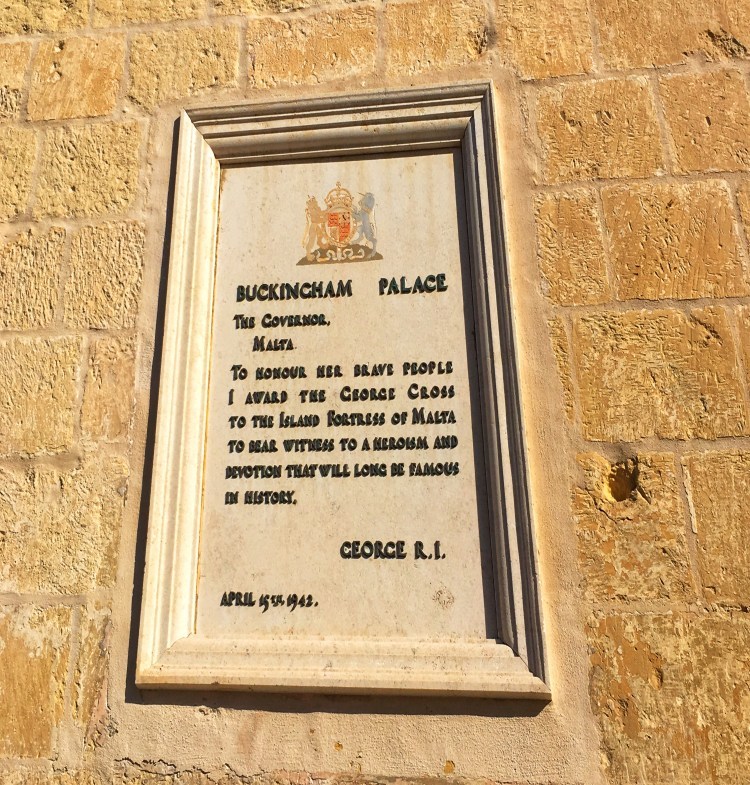 10 Things you need to know about Malta. Going to Malta - what you need to know. Image of George Cross Dedication plaque