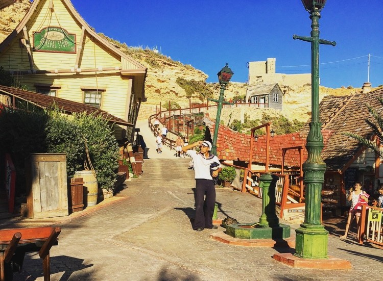 Fun things to do with kids in Malta. Image of Popeye at Popeye Village Malta