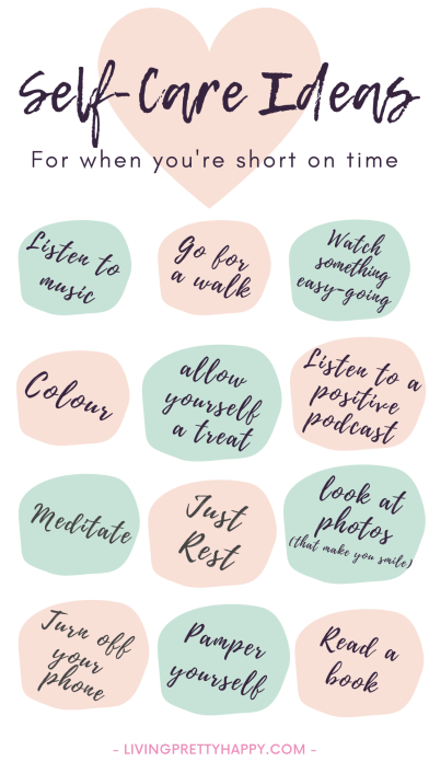 Self-Care Ideas for when you're short on time. Simple, inexpensive ideas to install a daily self-care habit into your lifestyle. #selfcare #selfcareideas #wellbeing