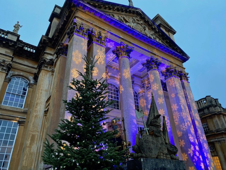 Blenheim Palace lit up with Christmas lights